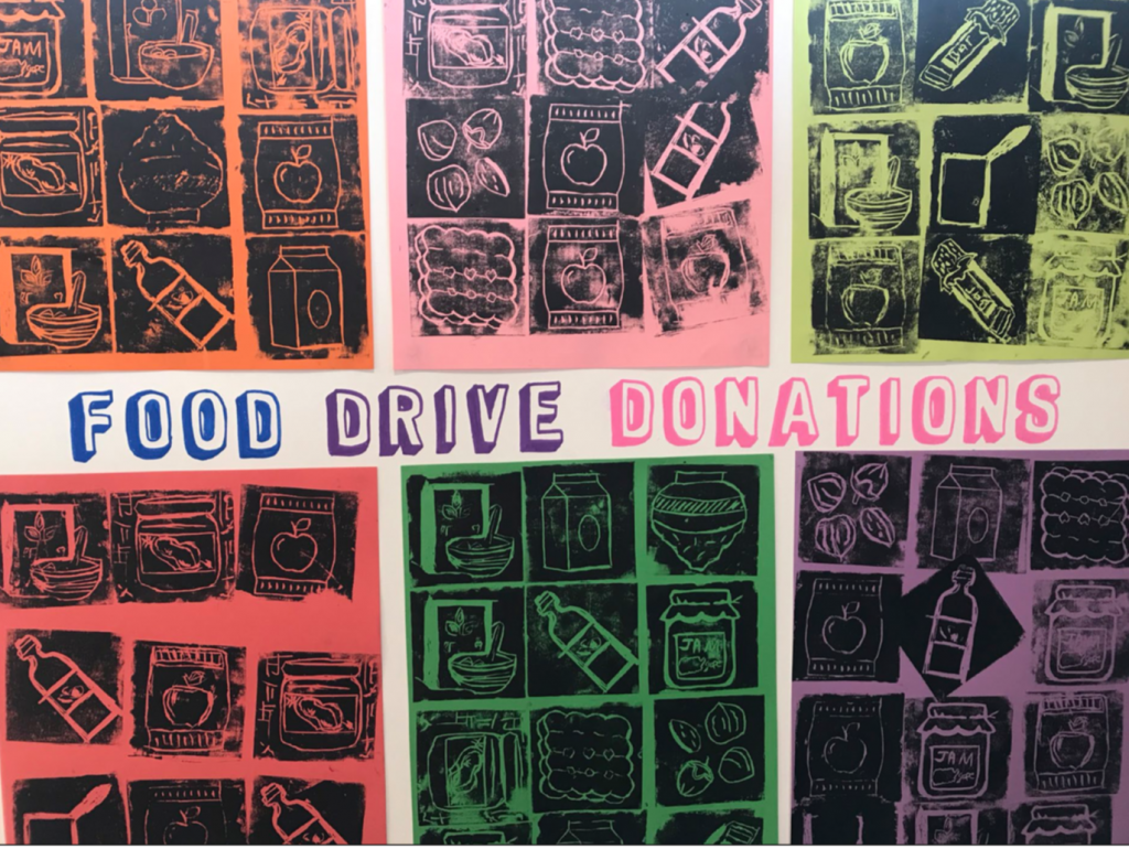 Food drive donations sign